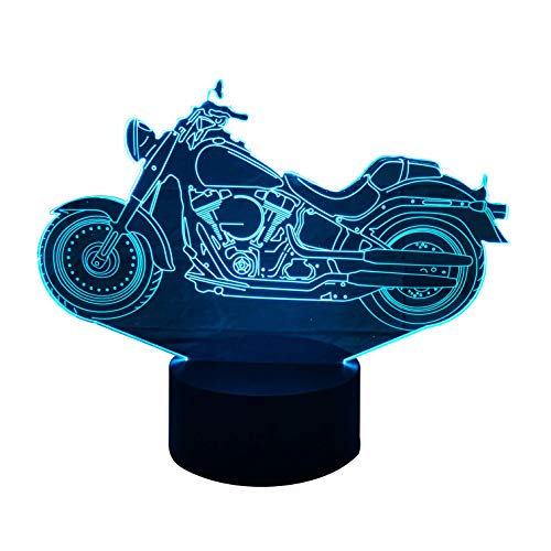 3D Optical Illusion Night Light - 7 LED Color Changing Lamp - Cool Soft Light Safe For Kids - Solution For Nightmares - Harley Davidson Motorcycle by LE3D