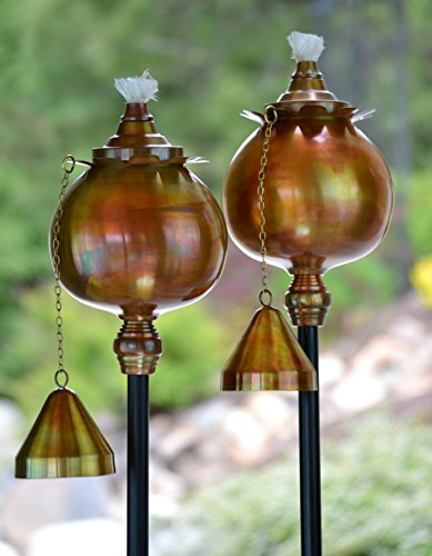 H Potter Outdoor Torches Copper Rustic Patio Deck 591 Set of 2 Garden Torch Rustic Finish - SET OF TWO - This stunning set includes 2 H Potter Outdoor Torches handcrafted of rust-resistant stainless steel with a hand-applied rustic copper finish. Lamps feature a stunning poppy design, adding a soft light and charming sophistication to any backyard, garden, deck and patio. Torches measure 6 feet high, 7 inches diameter at widest part. STAKE OR MOUNT - Metal pole (1-inch diameter) can be easily staked into the ground, or utilize included deck mount (8 x 8 inches) to secure to surface. Both pole and mount base have black powder-coating to withstand outdoor elements. EASY FILL + SAFE EXTINGUISH - Inner canister holds 24 oz of fluid - torch oil not included. Entire top lifts to make filling and re-filling simple. Brass chain attaches to snuffer cap and custom wick snuffer makes for safe extinguishing. - patio, outdoor-lights, outdoor-decor - 51LKUHNggIL -