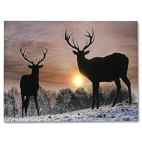 Deer Winter Scene   Light Up Deer Picture   LED Wrapped Canvas Print Shows  2 Deer With Large Antler Racks   Wildlife Wall Decoration   Deer Home Decor  ...