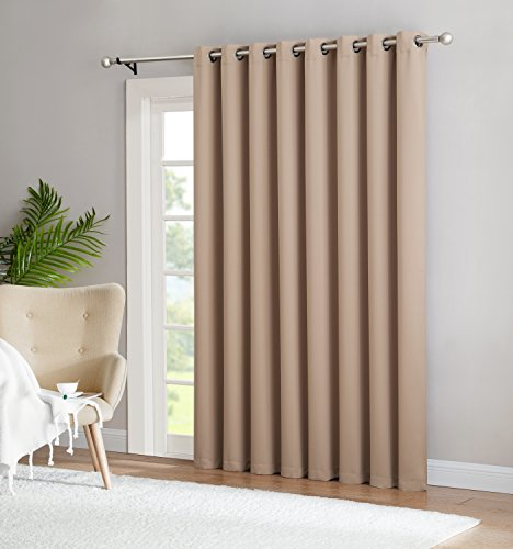 Nicole - 1 Patio Extra Wide Curtain Panel - Solid Thermal Insulated Drape - Premium Grommet Blackout - Ideal As Room Divider - For Sliding and Patio Doors (1 Patio 102x84, Taupe) (Patio Door Single)