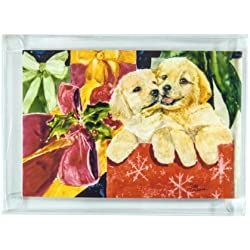 Rainbow Card Company 10-pack Christmas Cards with Envelopes - Golden Retriever