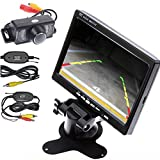 Wireless Transmitter/Receiver HD Waterproof Car Rear View Camera Night Vision Car Parking Backup Camera+7 Inch Car Monitor Car Rearview Screen/Mirror