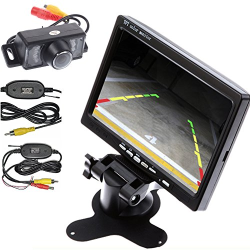 Latest 7' Wireless Video - Wireless Transmitter/Receiver HD Waterproof Car Rear View Camera Night Vision Car Parking Backup Camera+7 Inch Car Monitor Car Rearview Screen/Mirror