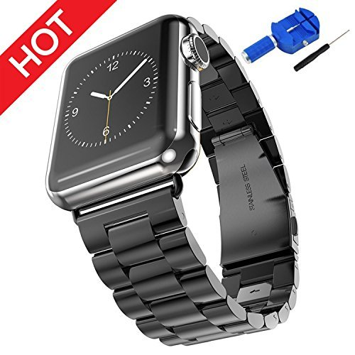(Compatible Apple Watch Bands 42mm 44mm Honest kin Solid Stainless Steel Metal Apple Watch Strap Business Replacement iWatch Strap for Apple Watch Series 4/3/2/1 Sport and Edition- Black)