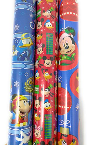 Christmas Wrapping Holiday Paper Gift Greetings 3 Rolls Design Festive Mickey Mouse & Friends Tsum Tsum by Wrapping Paper