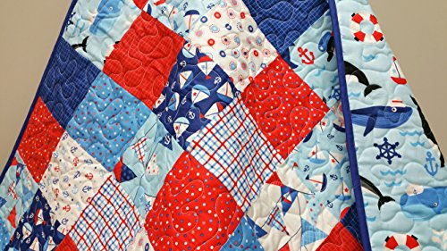 Nautical Baby Toddler Quilt by Now and Then Quilts