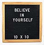 Bosco Knows Changeable Black Felt Letter Board 10 x 10 Inch with 290 White Letters, Numbers & Punctuation-Oak Wood Frame. Free canvas letter bag. Wall Mount Letterboard