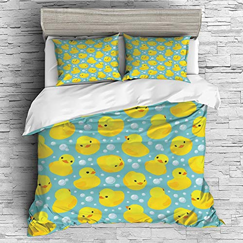 iPrint Home Luxury 4 Pieces Duvet Cover Bedding Sheet Set(Double Size) Nursery,Cute Happy Rubber Duck and Bubbles Cartoon Pattern Childhood Kids Theme Art,Aqua and Yellow -
