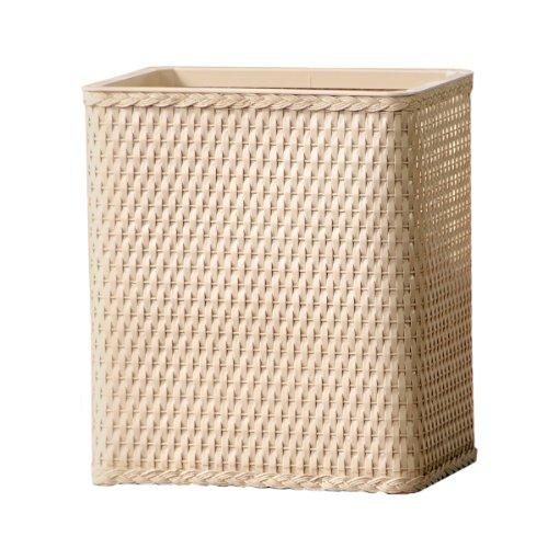 Ivory Wastebasket (Lamont Home Carter Wicker Waste Basket, Linen)
