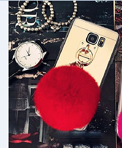 Galaxy S6 Edge+ Case, LU2000 Fluff Ball Pom Pom Keychain Fashion Bunny Fur [Mirror Series] Soft Plastic TPU Phone Case Back Cover for Samsung Galaxy S6 Edge+ / S6 Edge Plus All Version - Red