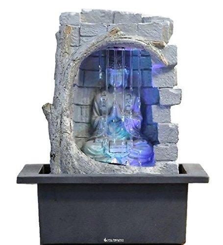 Zimmerbrunnen Innenbrunnen Feng Shui Buddha Wasserfall LED Farb Beleuchtung 25 cm