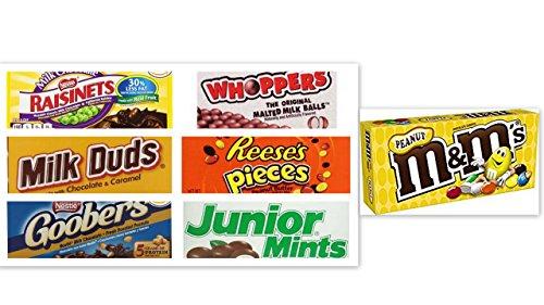- Movie Theater Candy Bundle (Pack of 7) includes Milk Duds, 5 oz + Whoppers, 5 oz + Junior Mints, 4 oz + Goobers, 3.5 oz + Reese's Pieces, 4 oz + Raisinets, 3.5 oz + M&M's Peanut, 3.1 oz