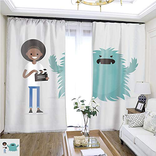 Cartoon Curtain Series Film Set Horror Movie Big Scary Monster Young Black Girl Holding a Retro Clapper Board Entertainment Industry Flat editable Vector Illustration Clip Art W108 x L79 Sliding do