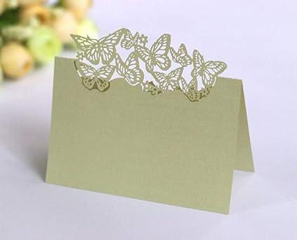 color blanco azul dise/ño de mariposas Tarjetas de mesa para invitados 100 unidades BigBigShop