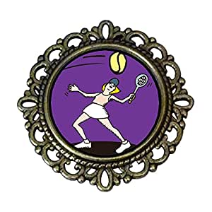 Chicforest Ancient Style Olympics female tennis player hit back Flower Pin Brooch