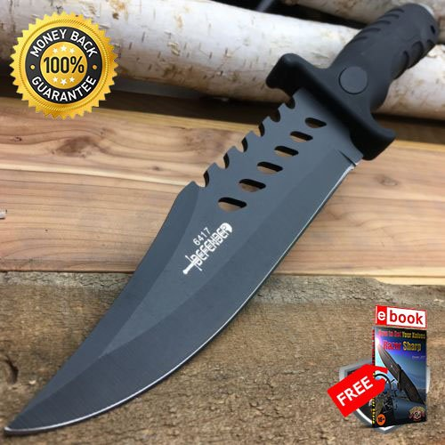 10.5'' TACTICAL FIXED BLADE BOWIE SURVIVAL HUNTING KNIFE w Sheath Rambo Military For Hunting Tactical Camping Cosplay + eBOOK by MOON KNIVES ()