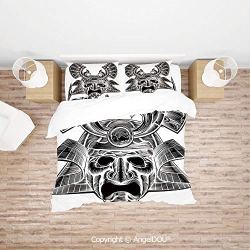 PUTIEN Durable Lightweight Fabric Printing Custom Bedding Set,Vintage Ancient Experienced Japanese Soldier Mask with Royal Lines and Shapes,Quilt Cover for Women Men Bedroom.