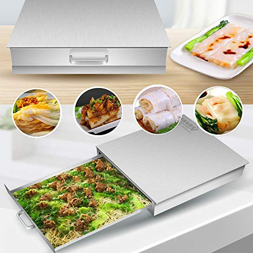 FERRISA Rice Noodle Rolls Machine,430 Stainless Steel Steamed Vermicelli Roll Steamer Machine,Chinese Cantonese Cuisine Household,Guangdong Recipes Cookware Kitchen Food Spare Cooker Baking Container by FERRISA (Image #2)