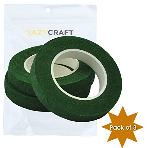 YazyCraft 1/2 inch Floral Tape Green pack of 3 – dark green tape packaging tape adhesive for bouquet stem wrap floral arranging craft projects corsages, wedding (Light Blue Wired Tag)