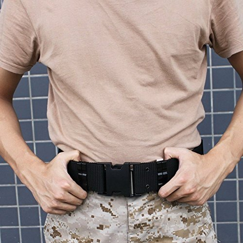ALAIX Mens Outdoor Military Style Tactical Belt Utility Nylon Adjustable Plastic Buckle