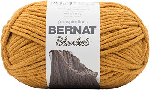 Mustard Yarn - Bernat Blanket Yarn, 10.5 oz, Burnt Mustard, 1 Ball