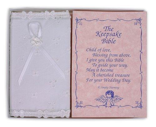 White Eyelet Covered Keepsake Baby Bible - Made in USA Communion Girl Covered Box
