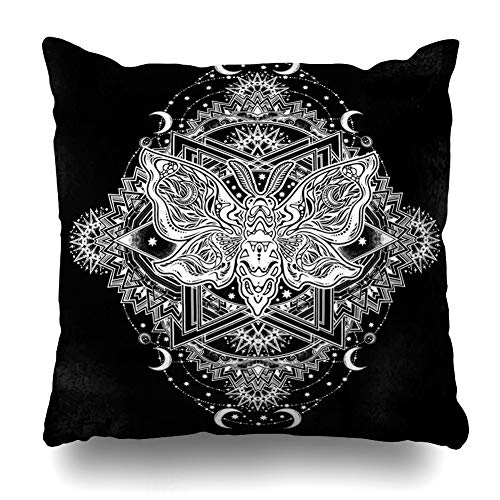 (Ahawoso Throw Pillow Cover Flower Bead Ornate Floral Butterflies Moths Chalkboard Fantasy Alchemy Boho Design Home Decor Pillowcase Square Size 20 x 20 Inches Zippered Cushion Case)