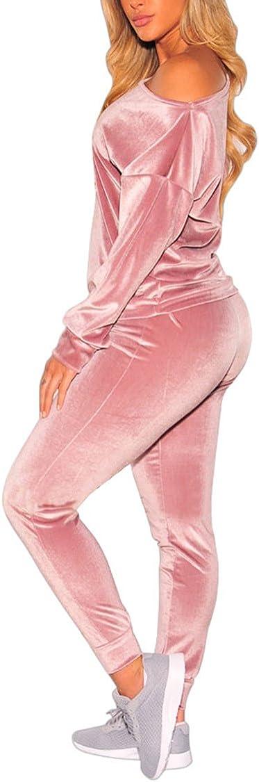 VamJump Women Velvet Off Shoulder Sweatshirt Jogger Pants Two Piece Set Tracksuit