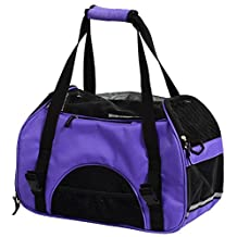 Pettom Dog Cat Pet Carrier Soft Sided Tote Airline Approved Travel Bag (Purple, S) Carrier