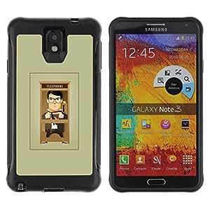 LASTONE PHONE CASE / Suave Silicona Caso Carcasa de Caucho Funda para Samsung Note 3 / Cartoon Man Grey Minimalist