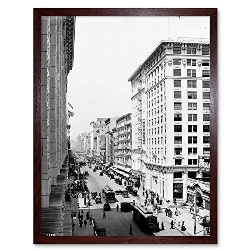 Broadway Eighth Street Los Angeles 1913 Photo Art Print Framed Poster Wall Decor 12x16 ()