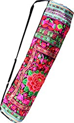 RaanPahMuang Bright Embroidered Hand Made Birds Flowers Yoga Mat Bag, 26 inch length, White Pink #A