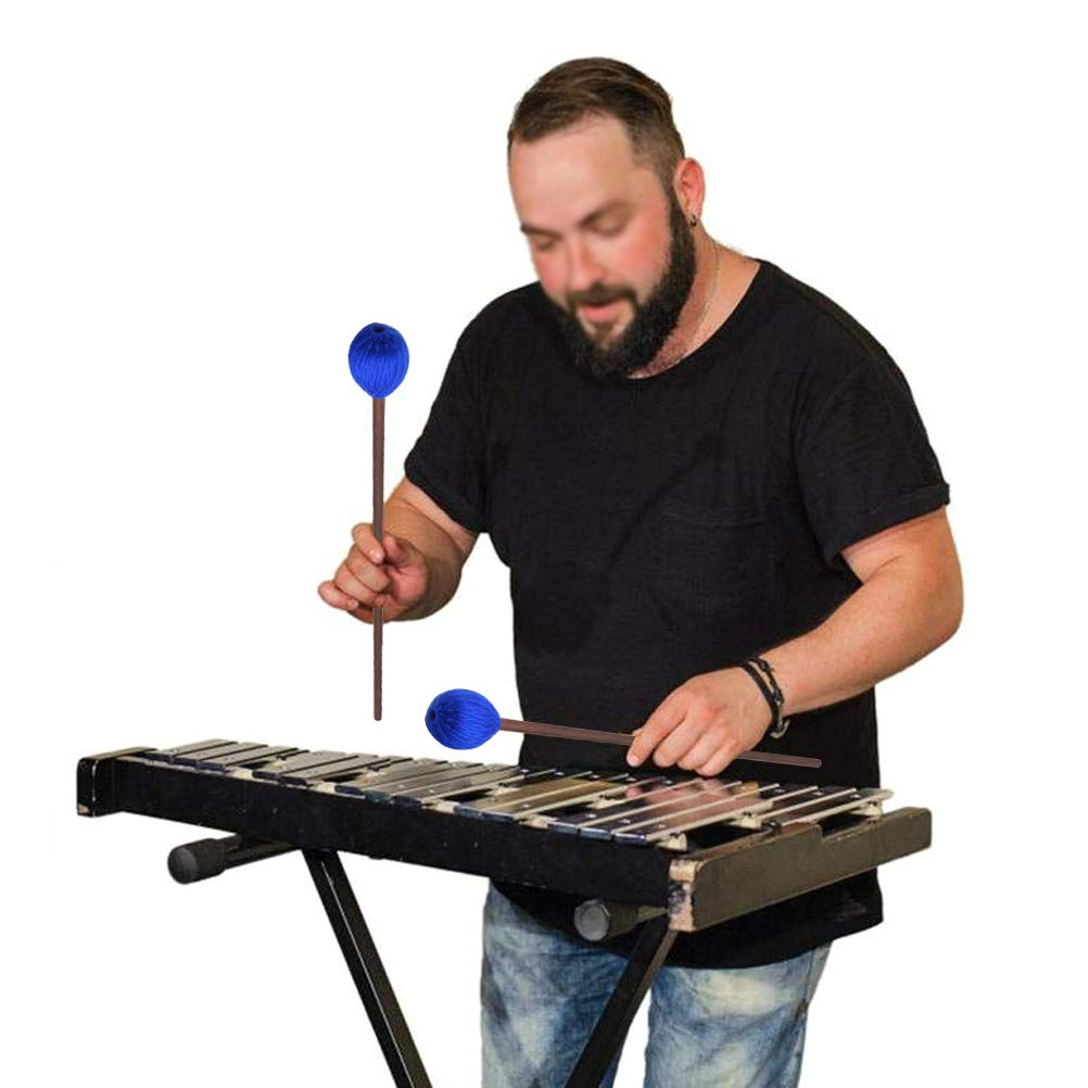 Vankcp 2 Pair Marimba Mallets Medium Blue Hard Yarn Head Keyboard Marimba Mallets for Percussion Marimba Playing Glockenspiel Marimba