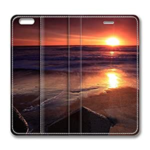 iPhone 6 Leather Case, Personalized Protective Flip Case Cover Stones On The Beach Sunset for New iPhone 6