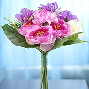 Silk Imitation Lavender, Purple and Ivory Artificial Fresh Look Flowers Bouquet 103