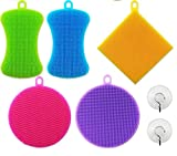 KatHome Silicone Cleaning Sponge Household Multi-Purpose Brush Antibacterial Scrubber Extra Sturdy 100% FDA approved Food Grade Multi-color shape 5+2 Pack