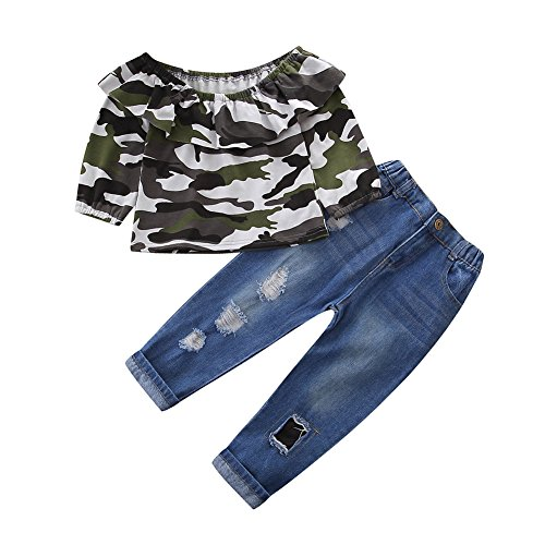 OUTGLE Baby Girls Kids Off Shoulder Lotus Leaf Camouflage Top + Holes Jeans 2pcs Clothing Set Outfits by OUTGLE