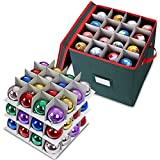 Primode Holiday Ornament Storage Box Chest, With 4 Trays Holds Up to 64 Ornaments Balls, With Dividers Constructed Of Durable 600D Oxford Material (Green)