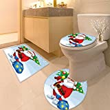 3 Piece Anti-slip mat set Vector Merry card with Santa Claus holding a gift and a tree Non Slip Bathroom Rugs