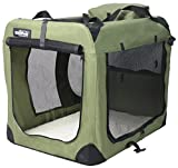 "EliteField 3-Door Folding Soft Dog Crate, Indoor & Outdoor Pet Home, Multiple Sizes and Colors Available (36""L x 24""W x 28""H, Sage Green)"