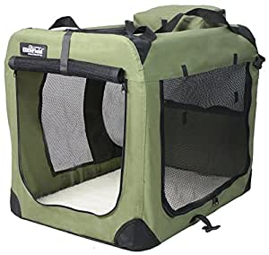 "EliteField 3-Door Folding Soft Dog Crate, Indoor & Outdoor Pet Home, Multiple Sizes and Colors Available (42""L x 28""W x 32""H, Sage Green)"