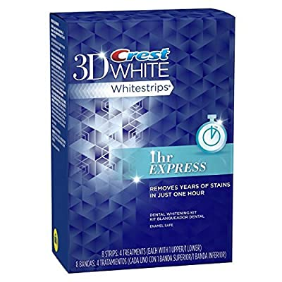 Crest 3d White 1-Hour Express Teeth Whitening Kit, 4 Treatments - 8 Strips (packaging may vary) by Seven 'til Midnight