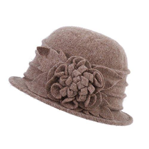 Dantiya Women's Winter Wool Cloche Bucket Hat Slouch Wrinkled Beanie Cap With Flower
