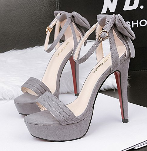 With Grey Bowknot Dressy Toe Heel Buckled Open Platform Strap Cute Women's Sandals Ankle Stiletto Aisun High xXqCwZ7EW