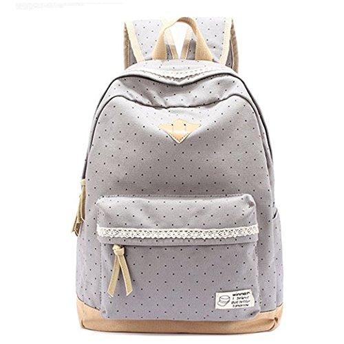 HITOP Vintage Mode Damen accessories hohe Qualität Leinwand Einfache Drucken Punkt Tasche Schultertasche Freizeitrucksack Tasche Rucksäcke (grau)