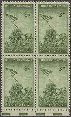 (Iwo Jima Block of 4 x 3¢ US Postage Stamps Scott #929)