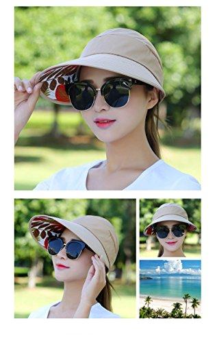 Women's Sun Hat, Summer Leisure UV Protective Visor Hat,Foldable Wide Brim Empty Top Sun Hat for Travel Beach - Khaki by Eastever (Image #5)