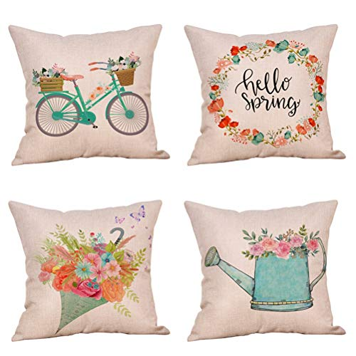 Decor Covers Cushion - 4 Pack Farmhouse Spring Sign Throw Pillow Cover Vintage Bicycle Flesh Flowers Butterfly Wreath Spring Decor Cushion Covers 18x18 Inch Linen Home Office Living Room Sofa (Spring is in the Air)