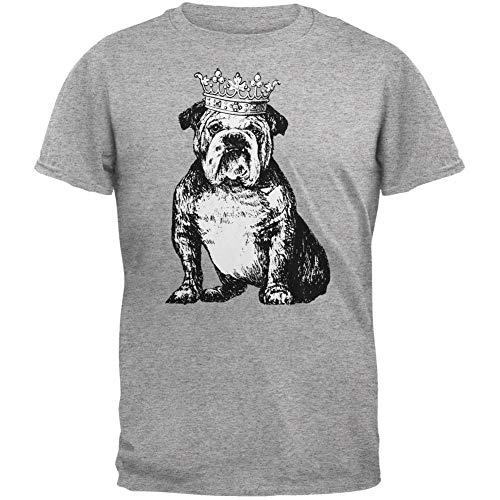 Animal World Bulldog Crown Heather Grey Adult T-Shirt