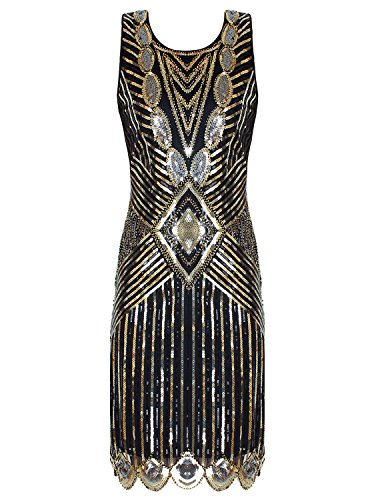 Beaded Slim Cut Formal Dress (Vijiv Women's 20s Embellished Glam Inspired Beaded Cocktail Flapper Gatsby Dress)